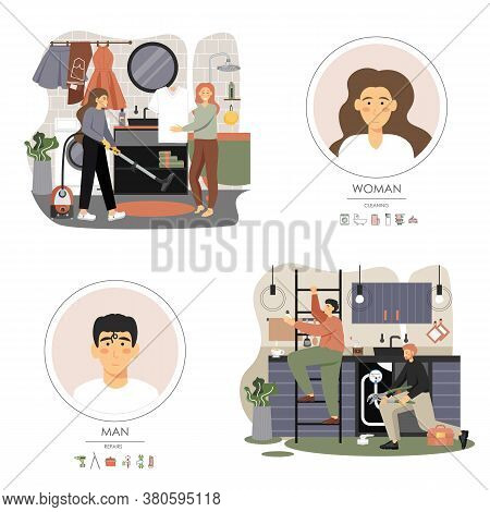 Home Repair And Cleaning Services Set, Vector Flat Illustration