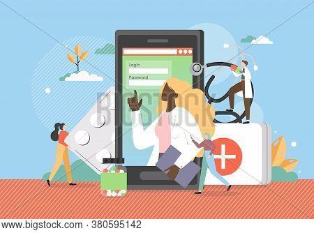 Web Medicine, Online Medical Information, Advice, Doctor Consultation, Vector Flat Illustration