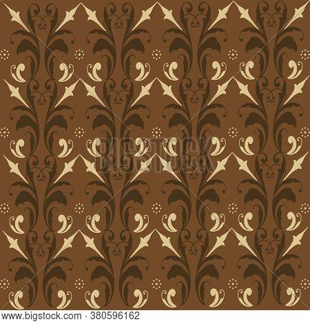 Vintage Motifs Design On Indonesian Batik With Simple Brown Color Design.