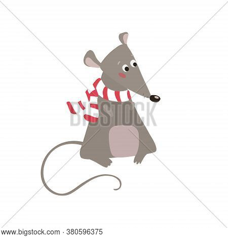 Cute Mouse In A Knitted Striped Scarf. Fluffy Rodent, Vector Illustration Isolated On White Backgrou