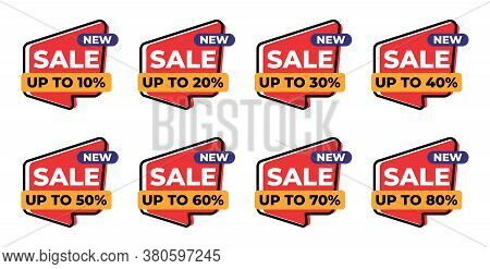 Up To 10%, 20%, 30%, 40%, 50%, 60%, 70% And 80% Sales Tag Vector Badge Template, Set Of Sales Label