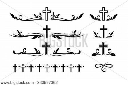 Funeral Ornamental Decorations. Vector Memorial Design Elements. Border, Divider, Ribbon, Frame And