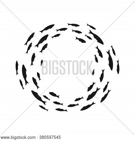Colony Of Swiming Sea Or Aquarium Fishes. Group Of Silhouttes . Isolated Vector Round Decoration. To