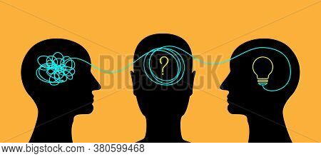 Process Of Creative Teamwork, Solving The Problems Or Mind Discovery. Conceptual Illustration Of Bra