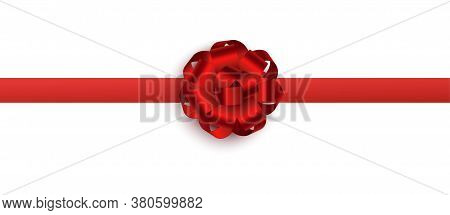 Realistic Red Foil Ribbon In Flower Shape - Festive Line Border With Silk Bow