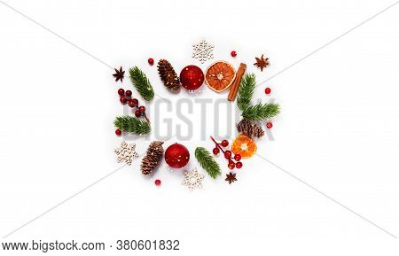Trendy Christmas Pattern With Winter And New Year Toys On Abstract Background. Top Horizontal View C