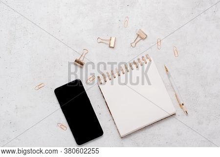 Stationery Business Flatlay Creative Composition. Top Horizontal View Of Envelope, Spiral Blocj Pape
