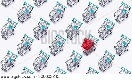 The Shopping Cart (toy) Is Cloned. Gift, In Red Packaging, In One Cart. Discounts, Sale.