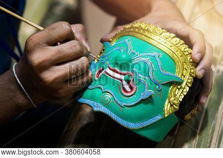 Painting Khon Mask, Thai Traditional Mask Ramayana