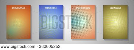 Colorful Dot Perforated Halftone Title Page Templates Vector Kit. Geometric Journal Faded Halftone P