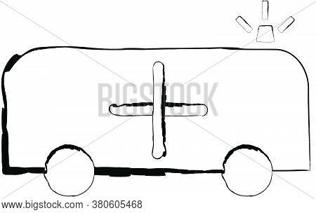 Flat Doodle Drawing Image Of Ambulance, Vector Illustration