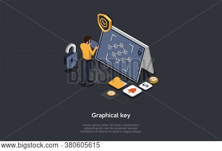 Mobile Technology, Device Security, Graphic Key Concept. Male Character Unlocks The Device Drawing A