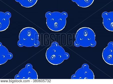 Bear Head Seamless Pattern Background, Blue Tone Image, Vector Illustration, Doodle Drawing.style