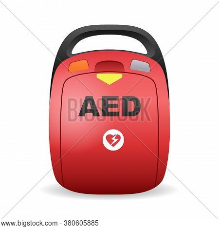 Aed - Automated External Defibrillator  Illustration - Isolated Vector Medical Healthcare Device Equ