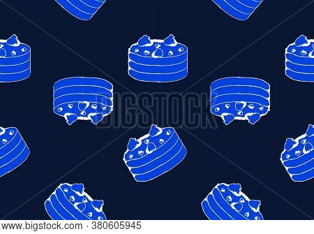 Cake Seamless Pattern Background, Blue Tone Image, Vector Illustration, Doodle Drawing.style