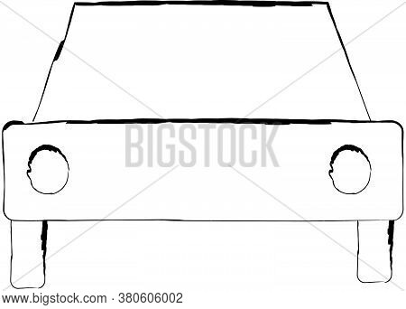 Flat Doodle Drawing Image Of Car, Vector Illustration