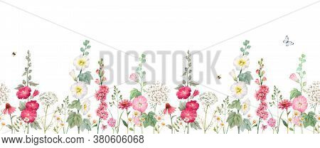 Beautiful Horizontal Seamless Floral Pattern With Watercolor Summer Mallow Flowers. Stock Illustrati