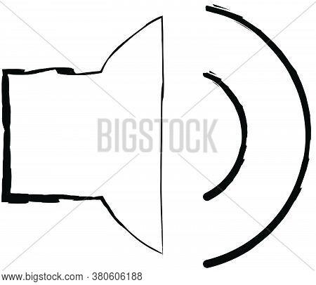 Flat Doodle Drawing Image Of Loudspeaker, Vector Illustration