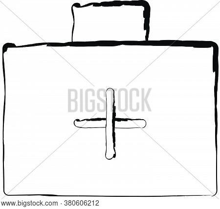 Flat Doodle Drawing Image Of Medicine Bag, Vector Illustration