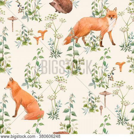 Beautiful Vector Seamless Floral Pattern With Watercolor Forest Plants And Animals. Stock Illustrati