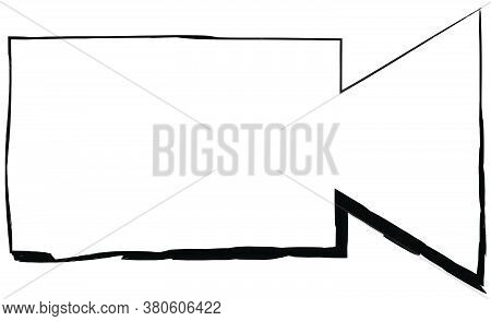 Flat Doodle Drawing Image Of Video Camera, Vector Illustration