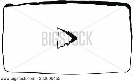 Flat Doodle Drawing Image Of Video Screen, Vector Illustration