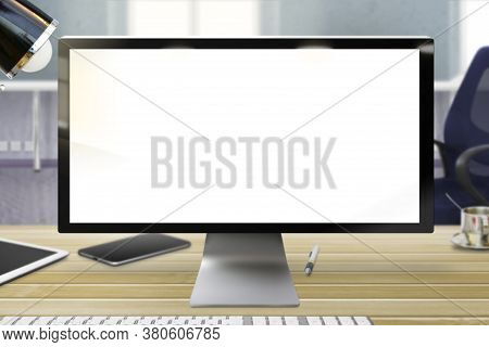 Technology Template - Laptop Monitor With White Empty Screen In The Office Room, Made From Real Phot
