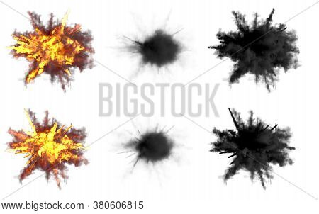Set Of Round Explosions Of Anti Aircraft Gun Shell Hit Or View From Above On Bangs Or Rocket Interce