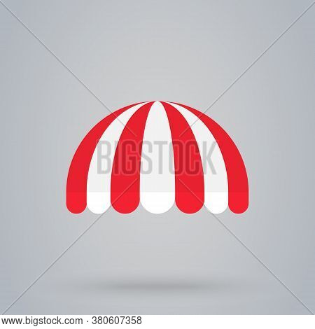 Store Striped Awning Or Sunshade Store Shop Tent Vector Illustration. Colorful Striped Symbol Flat S