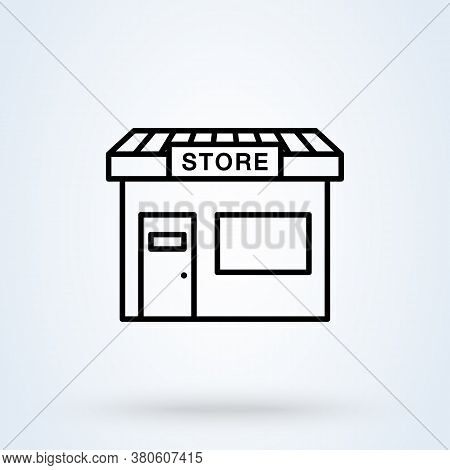Store Striped Awning And Shop, Store Building Vector Illustration. Linear Style, Icon Store Symbol T