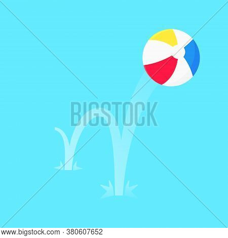 Bouncing Beach Ball Flat Style Design Vector Illustration Icon Sign Isolated On Blue Background. Ret