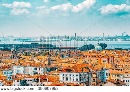 Panoramic View Of Venice From The Campanile Tower Of St. Mark's Cathedral (campanile Di San Marco).