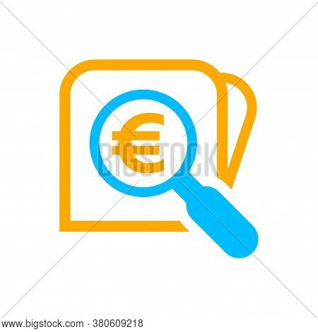 Magnifying Glass With Euro Currency Money Search Icon, Euro Coin With Magnifying Glass For Button Ap