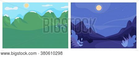 Day And Night Landscape Flat Color Vector Illustration Set. Nighttime Mountains For Camping. Daytime
