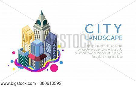 Vector Illustration Of The Metropolitan Urban Landscape. Suitable For The Background Of A Tourist Pr