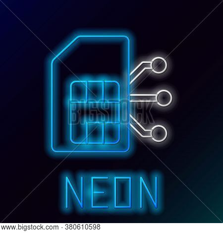 Glowing Neon Line Sim Card Icon Isolated On Black Background. Mobile Cellular Phone Sim Card Chip. M