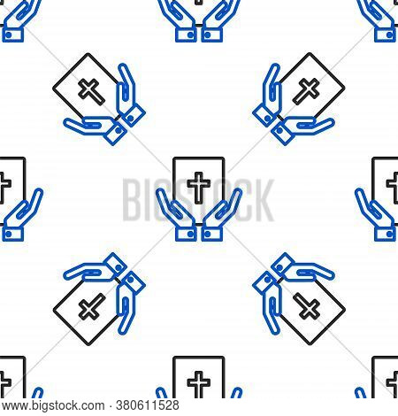Line Oath On The Holy Bible Icon Isolated Seamless Pattern On White Background. The Procedure In Cou