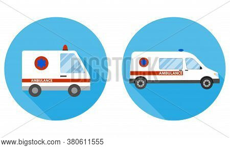 Ambulance. Ambulance Car On A Blue Background With Shadow. Vector, Cartoon Illustration.