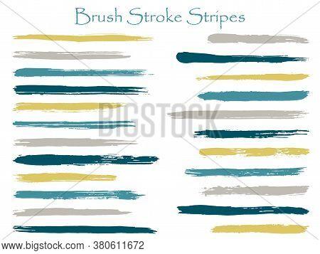 Minimalist Ink Brush Stroke Stripes Vector Set, Blue Horizontal Marker Or Paintbrush Lines Patch. Ha