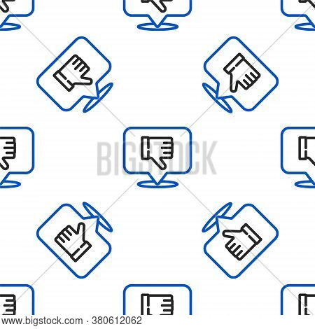 Line Dislike In Speech Bubble Icon Isolated Seamless Pattern On White Background. Colorful Outline C