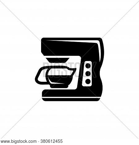Home Coffee Machine, Espresso Maker. Flat Vector Icon Illustration. Simple Black Symbol On White Bac