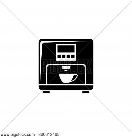 Professional Coffee Machine, Latte Maker. Flat Vector Icon Illustration. Simple Black Symbol On Whit