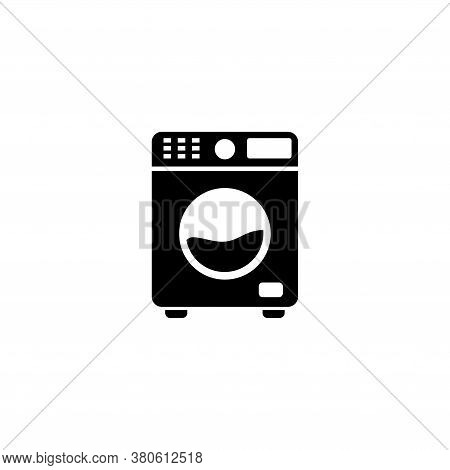 Washing Machine, Automatic Electric Washer. Flat Vector Icon Illustration. Simple Black Symbol On Wh