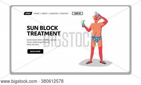 Sunblock Treatment Skincare Protection Vector Flat Illustration