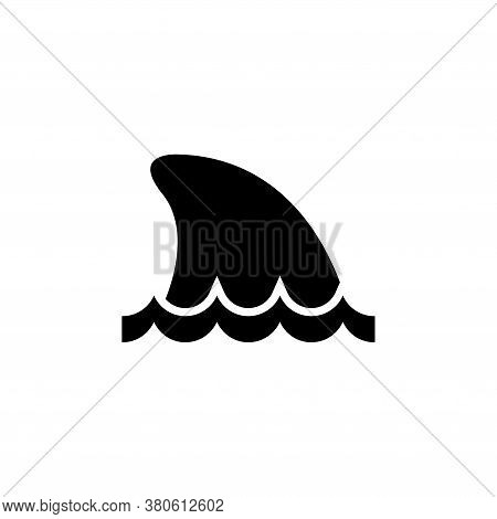 Shark Fin In Water, Ocean Or Sea Predator. Flat Vector Icon Illustration. Simple Black Symbol On Whi