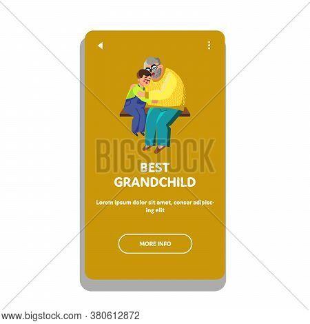 Best Grandchild Hugging With Grandfather Vector Illustration
