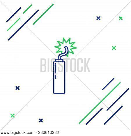 Line Detonate Dynamite Bomb Stick Clock Icon Isolated On White Background. Time Bomb - Explosion Dan