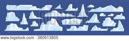 Set Of Floating Glacier, Iceberg In North Sea Or Arctic Ocean. Melting Ice Peak, Rocks In Antarctica