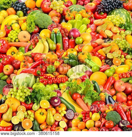 Large fruit pattern of fresh and healthy colorful vegetables and fruits. Square background.
