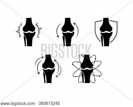 Knee Bones Vector. Human Bone And Joint Icon Set. Rheumatology And Traumatology, Vector Design And I